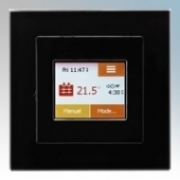 Heatmat TOU-BLK-BLCK NGTouch Black Electronic Colour Touchscreen Thermostat & Timer On Black Faceplate For Underfloor Heating Systems 16A