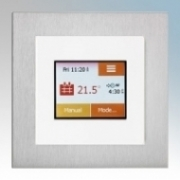 Heatmat TOU-WHT-ALUM NGTouch White Electronic Colour Touchscreen Thermostat & Timer On Aluminium Faceplate For Underfloor Heating Systems 16A