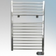 ElectroRad T400PC Polished Chrome Straight Rung Thermal Fluid Ladder Style Programmable Electric Towel Rail With Factory Set Heating Modes, Programmable Controller & Electronic Thermostat IP44 400W H:800mm x W:500mm x D:80mm