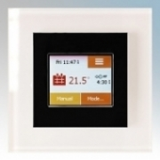Heatmat TOU-BLK-WHTE NGTouch Black Electronic Colour Touchscreen Thermostat & Timer On White Faceplate For Underfloor Heating Systems 16A