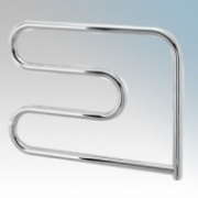 Vent-Axia 447854 VATRS100C Chrome S-Shaped Electric Tubular Towel Rail With Wall Brackets 100W W:600mm x W:500 X D:95mm