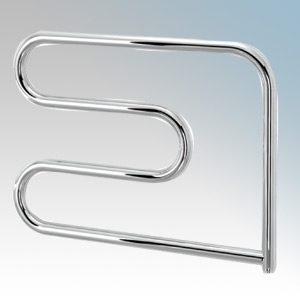Vent-Axia 447854 VATRS100C Chrome S-Shaped Electric Tubular Towel Rail With Wall Brackets 100W W:600mm x W:500 X D:95mm