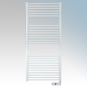 Haverland TE-700-I Designer TE White 25 Element Low Energy Ladder Style Electric Towel Rail With Infra-Red Wall Mounting Remote Control Digital Programmer & Fixing Kit IP44 700W H:1200mm x W:500mm x D:110mm