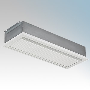 Consort HE8418 Screenzone White 3Ph Recessed Large Commercial Air Curtain With Electronic Controller + Temperature Sensor & Non-Vision Grille 18kW 415V H:395mm x W:1982mm x D:200mm