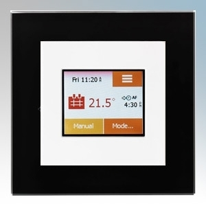 Heatmat TOU-WHT-BLCK NGTouch White Electronic Colour Touchscreen Thermostat & Timer On Black Faceplate For Underfloor Heating Systems 16A