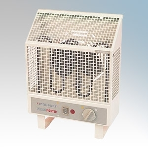 Consort UHA10S Frostfighter Barley White Frost Protection Radiant Heater With Independent Fan, Variable Thermostat & Frost Protection Setting IP24 1000W H:345mm x W:255mm x D:150mm