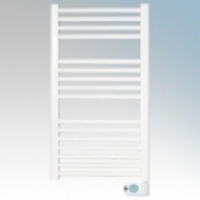 ElectroRad T400PW White Straight Rung Thermal Fluid Ladder Style Programmable Electric Towel Rail With Factory Set Heating Modes, Programmable Controller & Electronic Thermostat IP44 400W H:800mm x W:500mm x D:80mm
