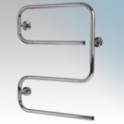 Hyco AL50SC Alize Chrome S Shaped Tubular Electric Towel Rail With Mounting Brackets 50W W:500mm x H:645mm x D:110mm