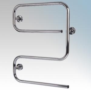 Hyco AL50SC Alize Chrome S Shaped Tubular Electric Towel Rail With Mounting Brackets 50W W:500mm x H:645mm x D:110mm