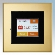 Heatmat TOU-BLK-BRSS NGTouch Black Electronic Colour Touchscreen Thermostat & Timer On Brass Faceplate For Underfloor Heating Systems 16A