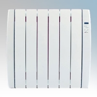Haverland RC6TT Designer TT White 6 Element Energy Saving Curved Electric Radiator With Energy Monitor & 7 + 1 Bespoke Heating Schedules 0.75kW H:580mm x W:606mm x D:100mm