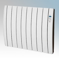 Haverland RC8INERZIATTI Designer Inerzia Dry Stone White 8 Element Energy Saving Electric Radiator With Digital Programmer & Intensified Thermal Output 1.0kW H:580mm x W:765mm x D:100mm