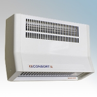 Consort BFH2SL White Metal Bodied Wall Mounting Wireless Controlled Downflow Fan Heater - Requires SL Series Contoller 2kW H:200mm x W:300mm x D:110mm