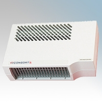 Consort BHM1SL White Wall Mounting Double Insulated Wireless Controlled Downflow Fan Heater - Requires SL Series Contoller 1kW H:190mm x W:305mm x D:115mm