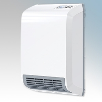 Stiebel Eltron CK20 TREND LCD White LOT20 Compliant Wall Mounted Fan Heater With Bottom Front Grille, Digital Controller & 7 Day Timer 2kW W:275mm x H:400mm x D:131mm