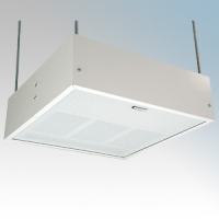 Consort HE7247SL White Wireless Controlled Surface/Suspended Enclosed Ceiling Heater With Surface Mount Kit & White Aluminium Diffuser - Requires SL Series Contoller 4.5kW L:595mm x W:595mm x D:188mm
