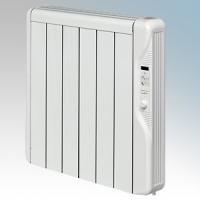 Elnur RX6E-PLUS RXE Plus Series White LOT20 Compliant 6 Element Oil Free Low Energy Radiator With Digital Control & Programmer 750W W:575mm x H:580mm x D:100mm