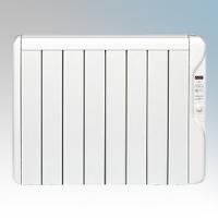 Elnur RX8E-PLUS RXE Plus Series White LOT20 Compliant 8 Element Oil Free Low Energy Radiator With Digital Control & Programmer 1000W W:735mm x H:580mm x D:100mm