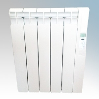 Rointe KRI0550RAD3 Kyros White Low Energy 5 Element Digital Programmable Oil Filled Electric Radiator With Digital 24hr / 7 Day Programmer & Safety Thermostat 550W H:580mm x W:520mm x D:120mm