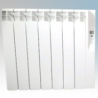 Rointe KRI0770RAD3 Kyros White Low Energy 7 Element Digital Programmable Oil Filled Electric Radiator With Digital 24hr / 7 Day Programmer & Safety Thermostat 770W H:580mm x W:680mm x D:120mm