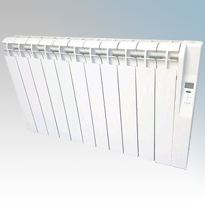Rointe KRI1210RAD3 Kyros White Low Energy 12 Element Digital Programmable Oil Filled Electric Radiator With Digital 24hr / 7 Day
