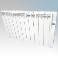 Rointe KRI1600RAD3 Kyros White Low Energy 15 Element Digital Programmable Oil Filled Electric Radiator With Digital 24hr / 7 Day Programmer & Safety Thermostat 1600W H:580mm x W:1330mm x D:120mm