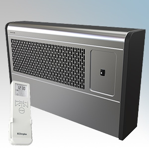 Dimplex WFE3SE WFE Range Silver / Black LOT20 Compliant Wall Mounting Fan Convector Heater With Remote Controlled 7 Day Timer + Temperature Control & Adaptive Start 3.0kW H:350mm x W:571mm x D:120mm