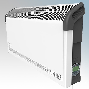 Dimplex DXC30TIE7 Contrast White/Graphite Grey LOT20 Compliant Portable Convector Heater With 7 Day Timer & Adaptive Start - Can Be Wall Mounted 3kW W:695mm x H:350mm x D:124mm