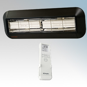 Dimplex CX2000HE CXD Range Aluminium LOT20 Compliant Ceramic Infra-Red Horizontal Radiant Heater With Bluetooth Remote Controlled 7 Day Timer + Temperature Control & Electronic Thermostat IPX4 2kW H:255mm x W:735mm x D:248mm