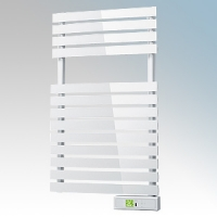 Rointe DTI030SEW D Series White Wireless Enabled Low Energy Curved Bar Towel Rail With Digital 24hr / 7 Day Programmer & Safety Thermostat - Wi-Fi App Control 300W H:843mm x W:500mm x D:100mm