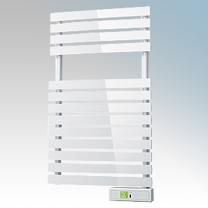 Rointe DTI030SEW D Series White Wireless Enabled Low Energy Curved Bar Towel Rail With Digital 24hr / 7 Day Programmer & Safety