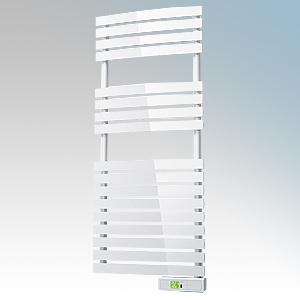 Rointe DTI045SEW D Series White Wireless Enabled Low Energy Curved Bar Towel Rail With Digital 24hr / 7 Day Programmer & Safety