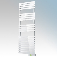 Rointe DTI060SEW D Series White Wireless Enabled Low Energy Curved Bar Towel Rail With Digital 24hr / 7 Day Programmer & Safety Thermostat - Wi-Fi App Control 600W H:1475mm x W:500mm x D:100mm