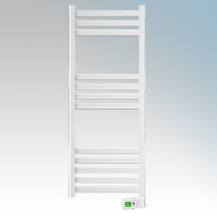 Rointe KTI050SEB3 Kyros White Low Energy Towel Rail With 4 Pre-Installed Lifestyle Programmes, 24hr / 7 Day Programmer & Safety Thermostat 500W H:1300mm x W:500mm x D:100mm