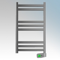 Rointe KTI030SEC3 Kyros Chrome Low Energy Towel Rail With 4 Pre-Installed Lifestyle Programmes, 24hr / 7 Day Programmer & Safety Thermostat 300W H:900mm x W:500mm x D:100mm