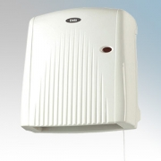 Creda CDF2IPX4 CDF Series White Wall Mounting Downflow Fan Heater With Thermostat Neon & Pullcord IPX4 2.0kW