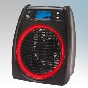 Dimplex DXGLO2 Black Portable Upright Fan Heater With Electronic Thermostat, Electronic Climate Control & Ring Lit Technology 2.