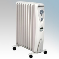 Dimplex OFRC20TI OFRC Eco Range Enviro-Sensitive Oil Free 9 Fin Electric Radiator With Thermostat, 24 Hour Timer & Choice Of Heat Settings 2.0kW H:622mm x W: 430mm x D:280mm