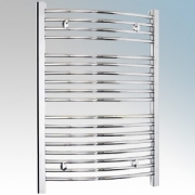 Dimplex TDTR350C Daytona Chrome Curved 18 Rail Towel Rail With 4 Wall Brackets IPX4 250W H:843mm x W:602mm x D:95-115mm