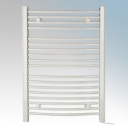 Dimplex TDTR350W Daytona White Curved 18 Rail Towel Rail With 4 Wall Brackets IPX4 350W H:843mm x W:602mm x D:95-115mm