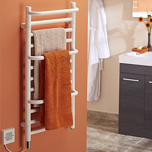 Dimplex CPTSW White Compact Stepped Low Wattage Towel Rail With Protruding Rails IPX5 120W H:800mm x W:400mm x D:120mm