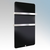 Haverland XTAL6N Designer XTAL Black Glass Designer Plasma Style Towel Rail With Electronic Digital Thermostat, 9 + 4 Bespoke Heating Schedules & RF Remote Control Digital Programmer 600W H:1090mm x W:580mm x D:145mm