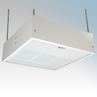 Consort HE7247RX White Wireless Controlled Surface/Suspended Enclosed Ceiling Heater With Surface Mounting Kit & White Aluminium Diffuser - Requires CRX2 Controller 4.5kW L:595mm x W:595mm x D:188mm