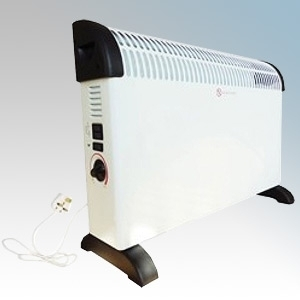 Eterna CFAN White/Graphite Portable Convector Heater With Thermostat & Turbo Boost - Can Be Wall Mounted Using Fixing Kit 2.0kW W:580mm x H:420mm x D:200mm