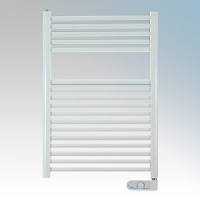 Haverland TE-425-E Designer TE White 17 Element Low Energy Ladder Style Electric Towel Rail With Onboard Controls & Fixing Kit IP44 425W H:800mm x W:500mm x D:110mm