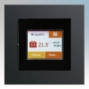 Heatmat TOU-BLK-BLAU NGTouch Black Electronic Colour Touchscreen Thermostat & Timer On Black Aluminium Faceplate For Underfloor Heating Systems 16A