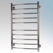 Hyco AQ80LC Aquilo LST Stainless Steel Curved Ladder Style Low Surface Temperature Towel Rail With Wall Mounting Kit IPX4 80W 230V W:530mm x H:860mm x D:110mm