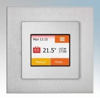Heatmat TOU-SIL-ALUM NGTouch Black Electronic Colour Touchscreen Thermostat & Timer On Aluminium Faceplate For Underfloor Heating Systems 16A