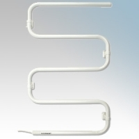 Consort TRJ80 Toweldry White Wall Mounting Tubular Steel Electric Towel Rail IP24 80W H:875mm x W:540mm x D:86mm