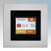 Heatmat TOU-BLK-ALUM NGTouch Black Electronic Colour Touchscreen Thermostat & Timer On Aluminium Faceplate For Underfloor Heating Systems 16A